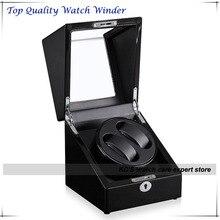 Calidad negro Piano , pintura doble enrollador de reloj automático y caja de almacenamiento Case para regalo de cumpleaños mejor navidad GC03-S105BB