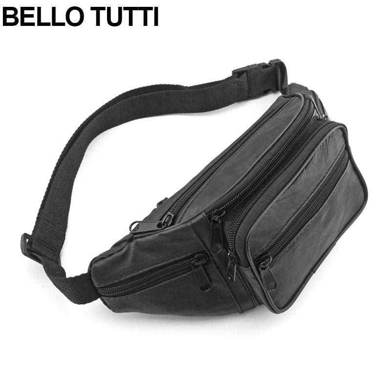 BELLO TUTTI Genuine Leather Waist Packs Fanny Pack Belt Bag Phone Pouch Bags Travel Waist Pack Male Small Waist Bag Sheepskin
