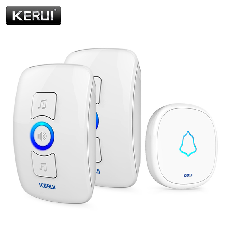 KERUI 32 Songs Wireless Long Range Smart Home Doorbell With Waterproof Push Button AC 220V EU AU US UK Plug Door Bell touch sensor design waterproof wireless doorbell eu us uk au plug home led light door bell ac220v with 1ring button 2receivers