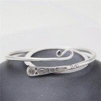 JINSE Thailand Handmade Sterling Silver Bracelet Flower Fish Engraved Carved Thai Silver Bangle 3.20mm 17.60G WTB070