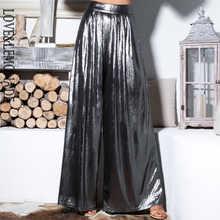 Love&Lemonade Silver Important Reflective Wide Leg Pants LM81498-1 - DISCOUNT ITEM  15% OFF Women\'s Clothing