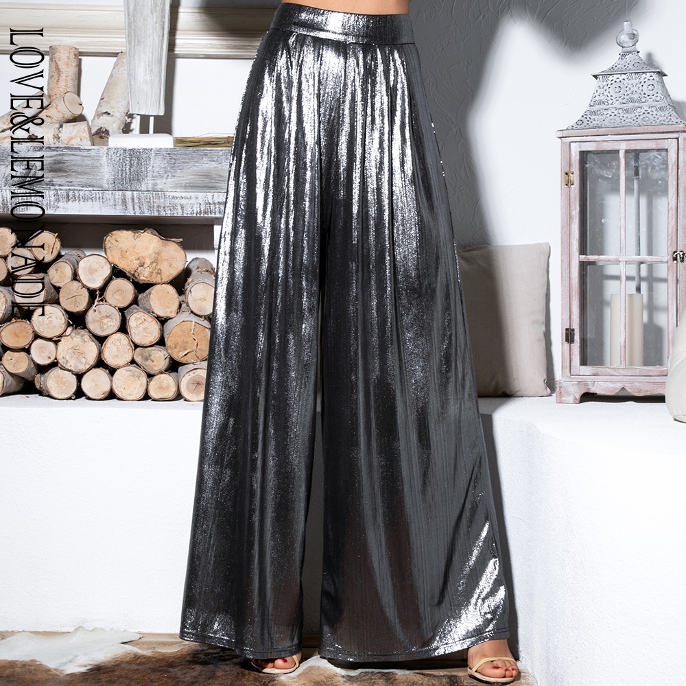 Love&Lemonade Silver Important Reflective   Wide     Leg     Pants   LM81498-1