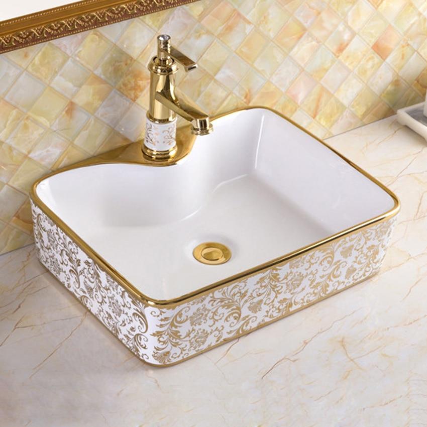 Bassin en céramique salle de bain évier style européen lavabo de luxe évier bain combiner Drain gratuit de haute qualité