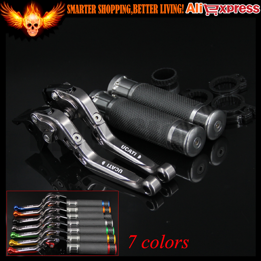 ФОТО 7 Colors Full Titanium Motorcycle Brake Clutch Levers&Handlebar Hand Grips For Ducati 900SS 1991 1992 1993 1994 1995 1996 1997