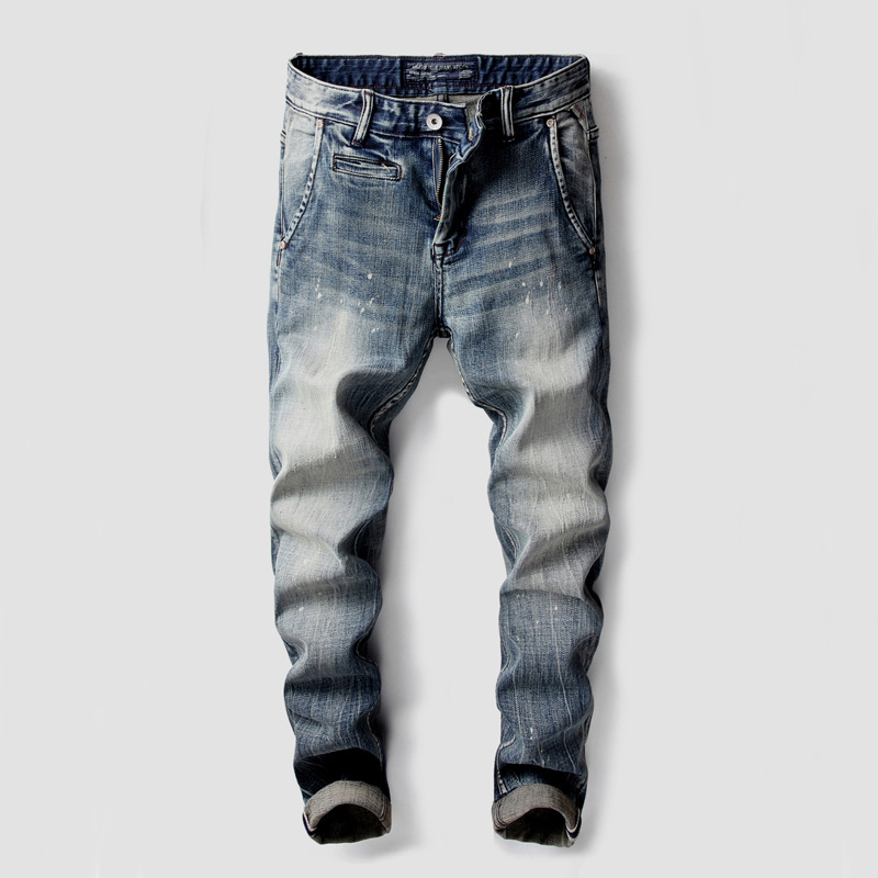 Italian Style Fashion Men's Jeans High Quality Slim Fit Classical Jeans Stretch Denim Pants Brand Designer Paint Printed Jeans italian style fashion men s jeans shorts high quality vintage retro designer classical short ripped jeans brand denim shorts men