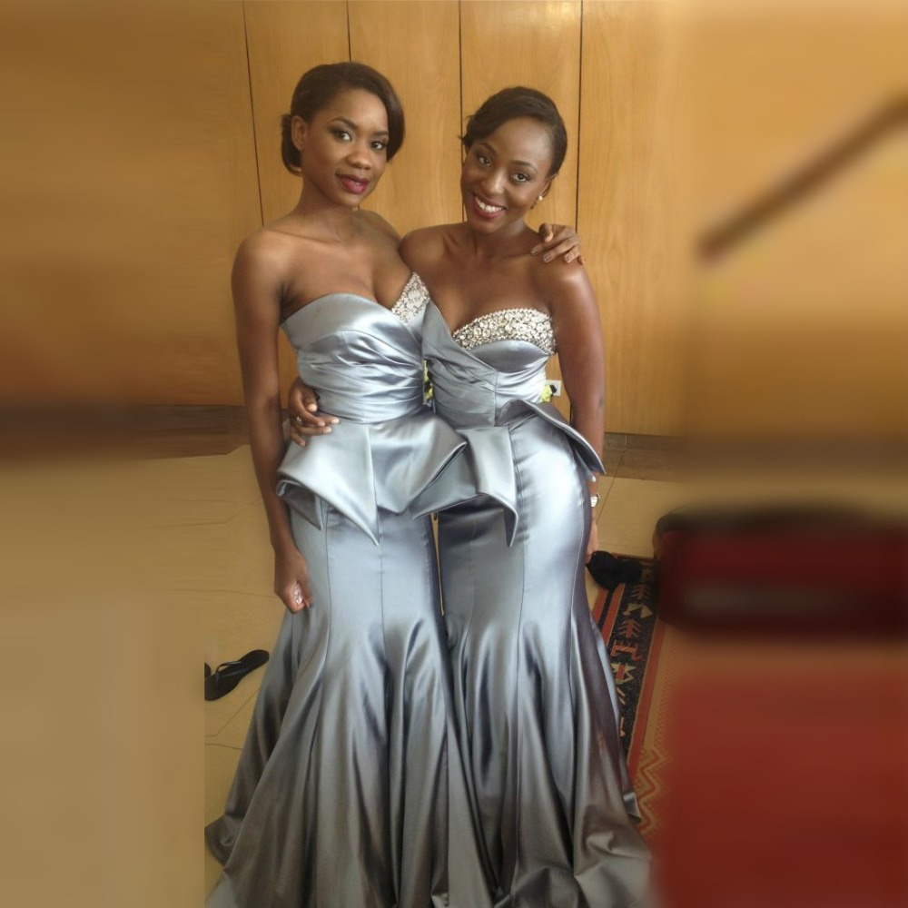 Gorgeous african mermaid bridesmaid dresses long beaded gray gorgeous african mermaid bridesmaid dresses long beaded gray bridesmaid dress peplum maxi gowns floor length wedding party dress in bridesmaid dresses from ombrellifo Choice Image