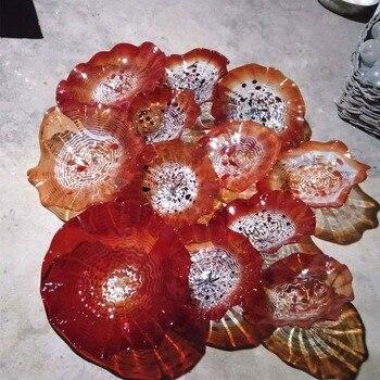 Soplado a mano Murano vidrio colgante pared arte placas estilo vidrio naranja flor techo Sconce decoración platos