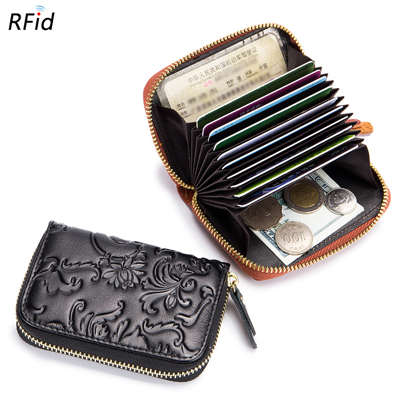 Westcreek Brand Genuine Leather Female RFID Organ Credit Card Holder Floral Embossing Women Zipper Travel Wallet Coin Purse ...