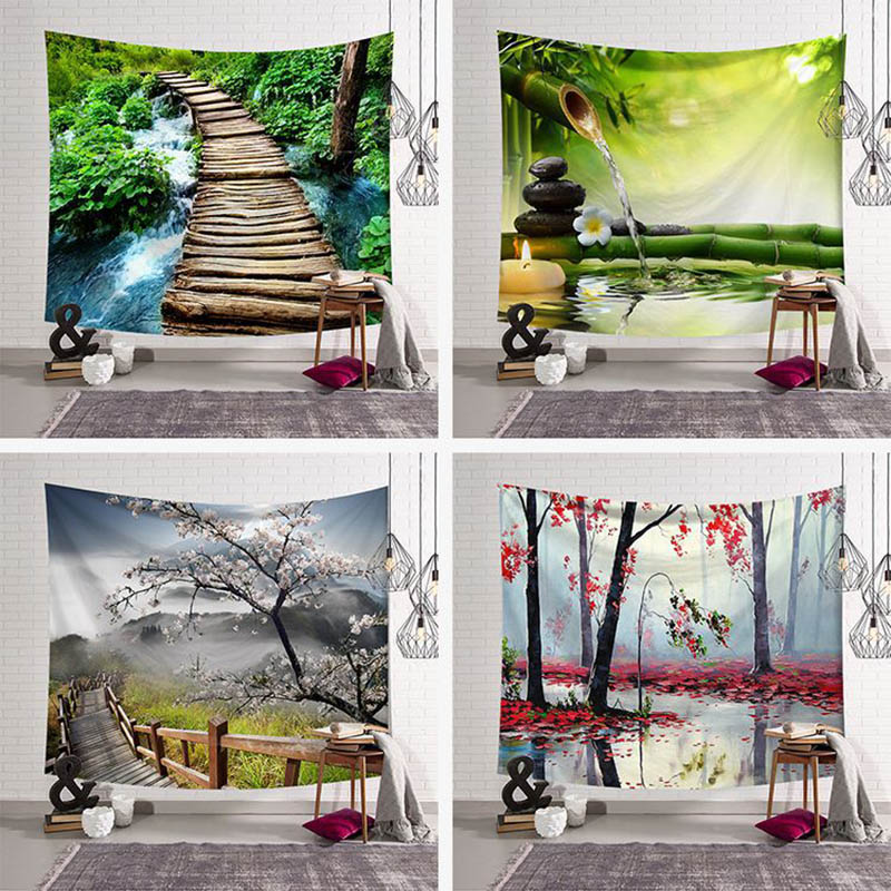 Psychedelic Tapestries Watercolor Green Forest Landscape
