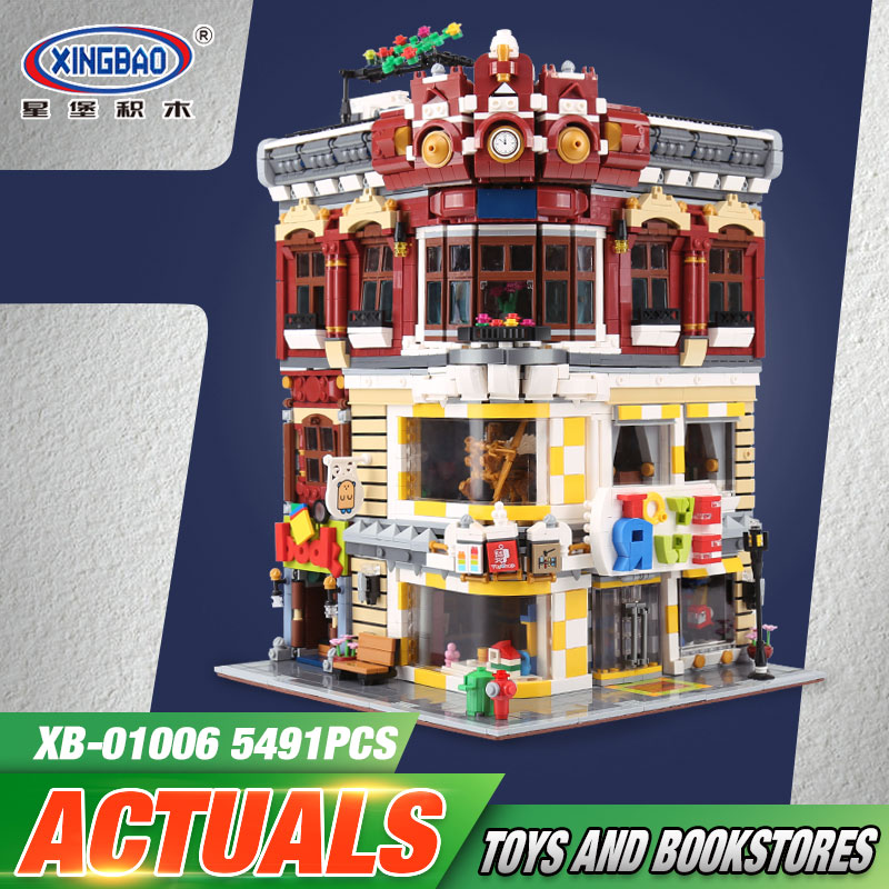 XingBao 01006 5491Pcs Genuine Creative MOC City Series The Toys and Bookstore Set Children Building Blocks Bricks Toy Model Gift
