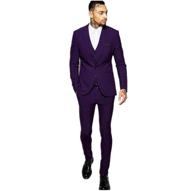0384485ea4d3b Męska garnitur szal garnitur fioletowy slim fit ślub najlepszy garnitur  męski trzyczęściowy garnitur klienta