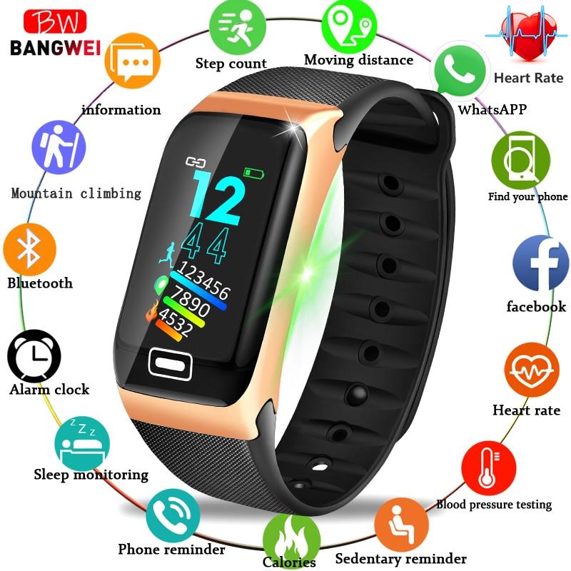BANGWEI 2019 Fitness Smart Watch Men's Sports Tracker Pedometer Heart Rate Blood Pressure Monitor IP68 Waterproof Smart Watches