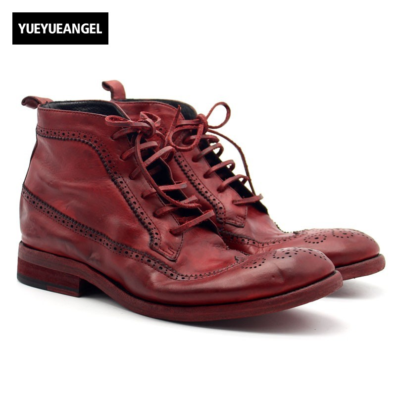 99ba95ac3ac Italy Handmade Cow Genuine Leather Male Ankle Boots Lace Up Wing Tip Brogue  Heel Work Satety Shoes Men Motorcycle Boots Punk Red