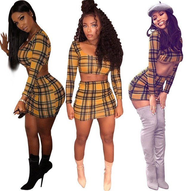 9ea34bd850 2018 Summer Women Square Collar Plaid Two Pieces Mini Set Sexy 2 Piece Set  Casual Elastic Waist Crop Top and Skirts Suits