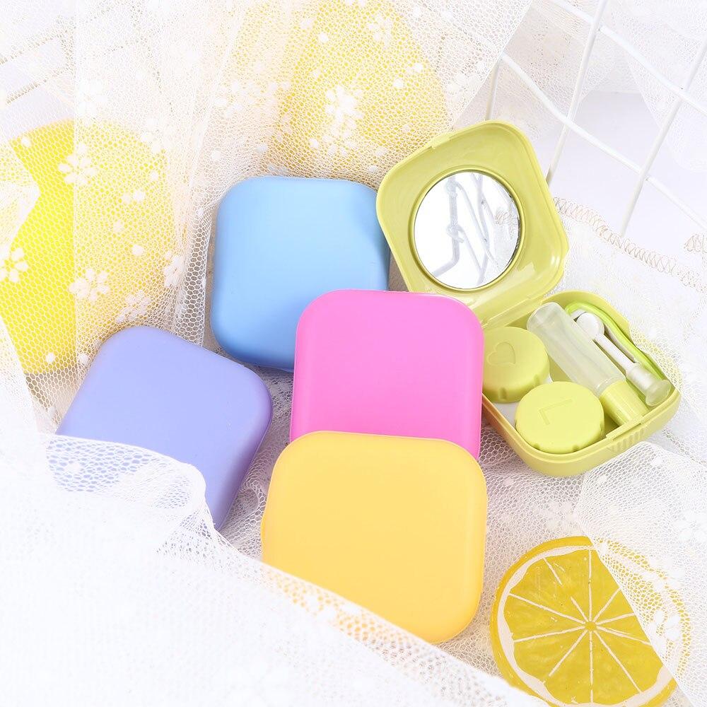 1 Pcs Tasche Mini Kontaktlinse-kasten Travel Kit Spiegel Behälter Niedlich Tragbare 5 Farben Heißer Verkauf Geeignet Für Outdoor Aktivität Attraktive Mode
