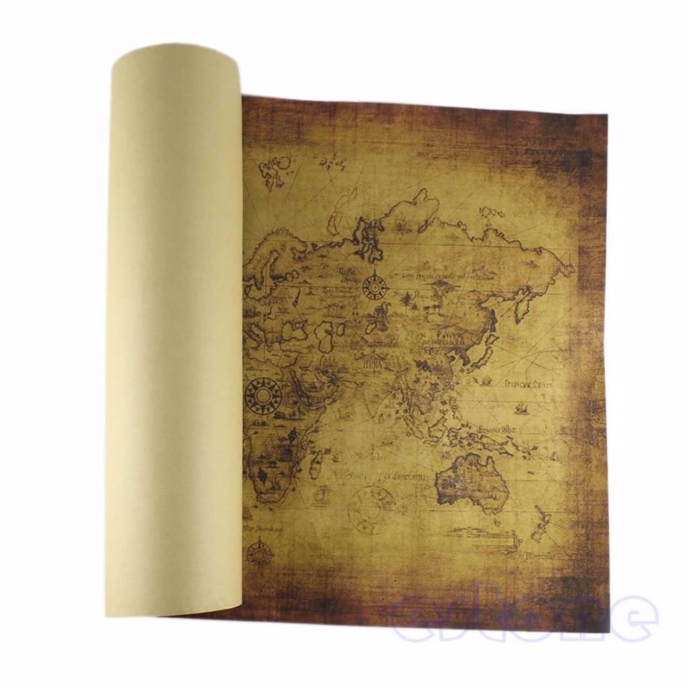 Карта старого мира большой Винтажный стиль ретро бумажный плакат украшения стены дома подарок