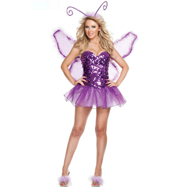 Unique Purple Strapless Sequin Fancy Dress Adult Girls Butterfly Costume Halloween Fairy Animal With Wings