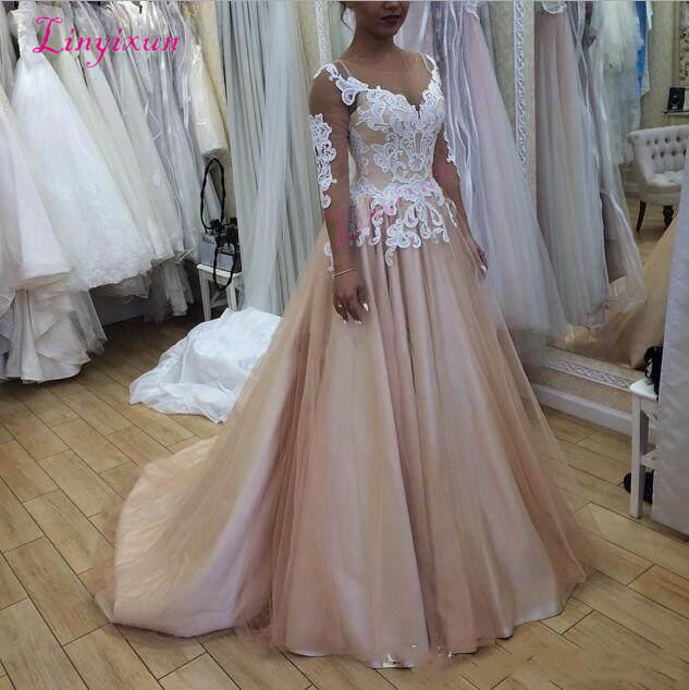 Newest Scoop Neck A-line   Prom     Dresses   Sheer Neck 3/4 Sleeves Lace Tulle Satin Evening Gowns Lace up Back Plus Size   Prom   Gown