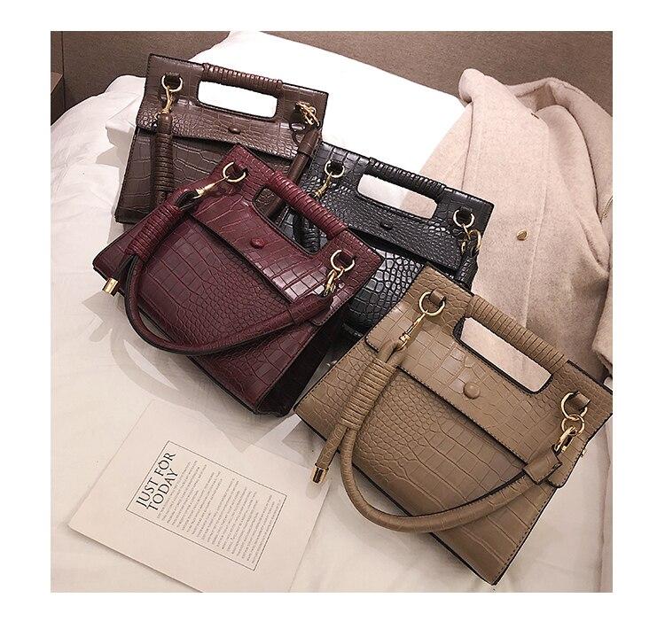 3 (6)Sac à Main Croco Style Vintage en simili cuir