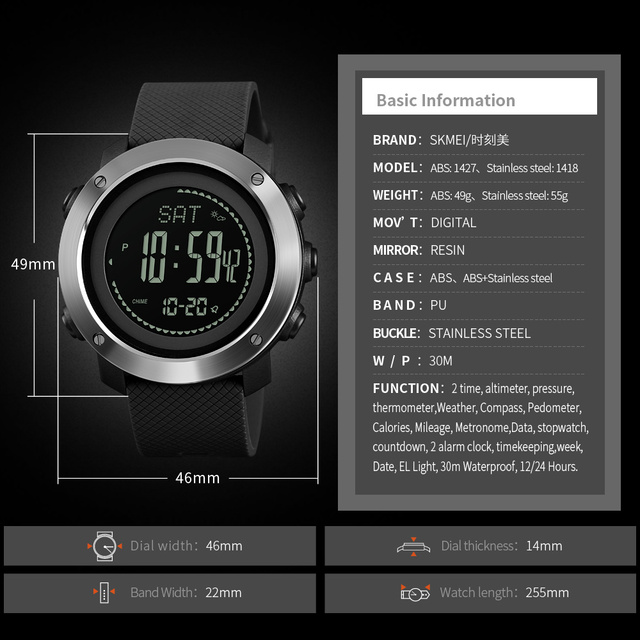 Barometer Thermometer Altitude Men Digital Watches 4