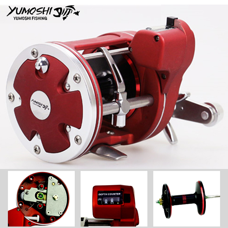 YUMOSHI Left / Right Hand Cast Drum Wheel 12 Bearings Fishing Reel with Electric Depth Counting Multiplier nunatak new fishing reel 5400 327g left hand right 7bb full metal cast drum wheel drum fishing reel bait casting
