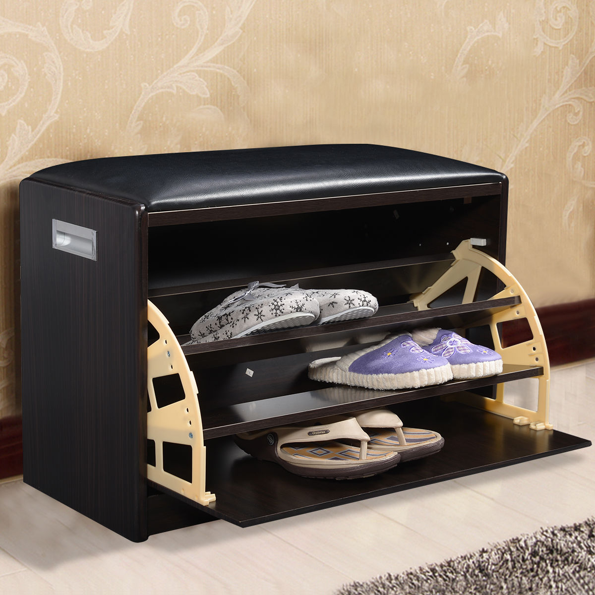 Giantex Wood Shoe Storage Ottoman Bench Modern Shoes Cabinet Closet Shelf Entryway Multipurpose Pouffe Stool HW49316BK francis black fabric ottoman bench