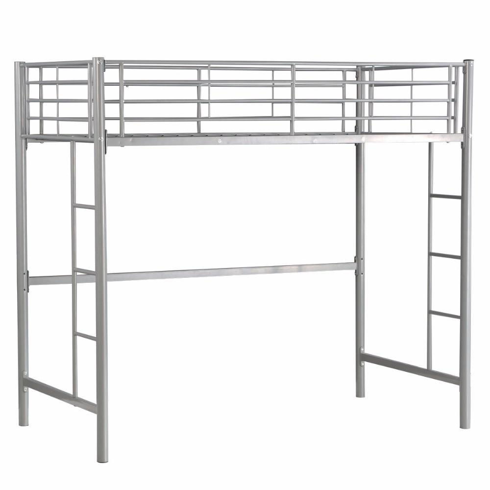 Giantx Twin Loft Bed Metal Bunk Ladder Beds Boys Girls Teens Kids Bedroom Dorm Bedroom Furniture HW56062