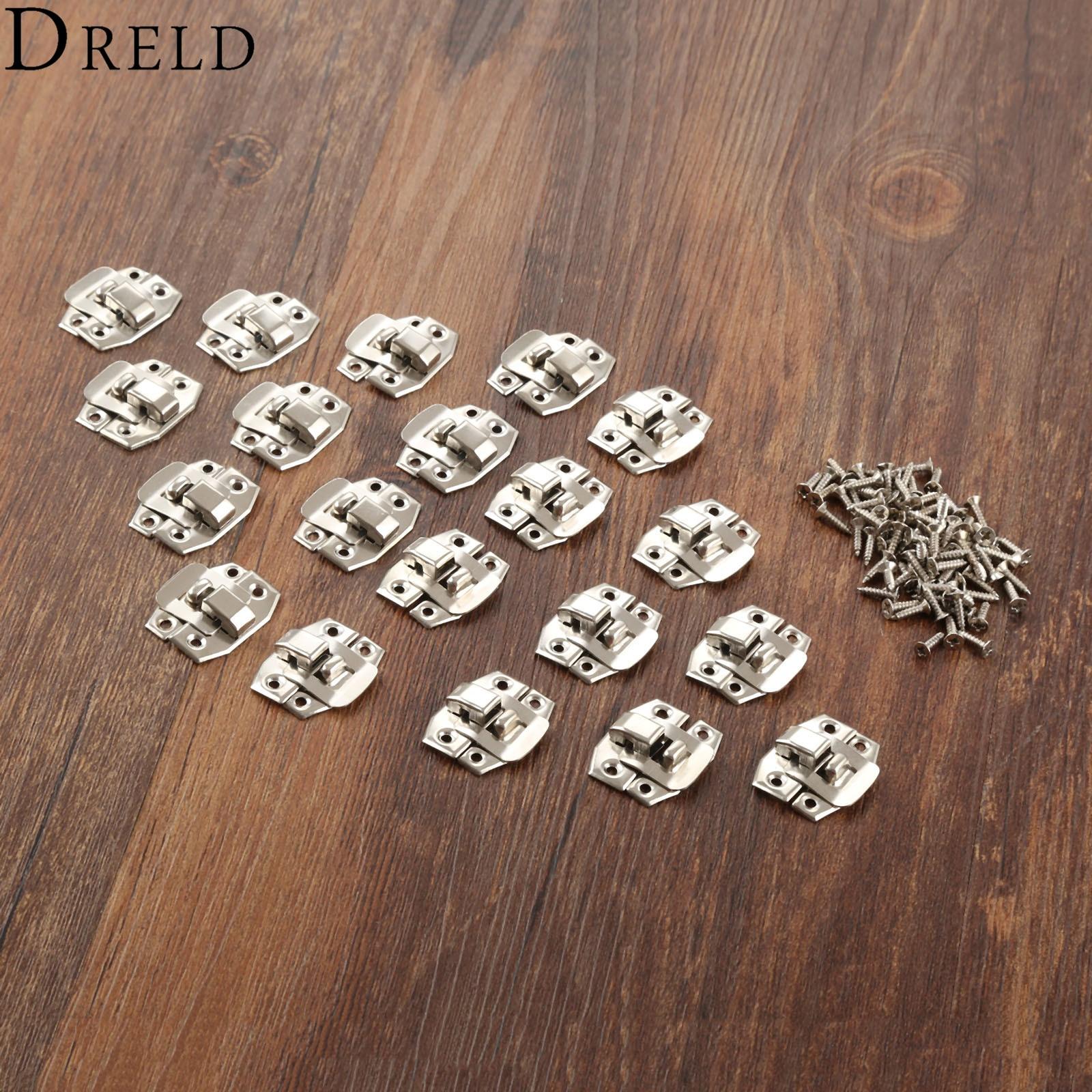 купить DRELD 20Pcs Antique Silver Box Hasp Lock Catch Latches for Jewelry Box Suitcase Buckle Clip Clasp Furniture Hardware 24*19mm по цене 135.32 рублей
