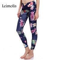 Leimolis 3D imprimer vintage feuille fleur hiver chaud Harajuku Taille Haute entraînement push up plus la taille fitness leggings femmes pantalon