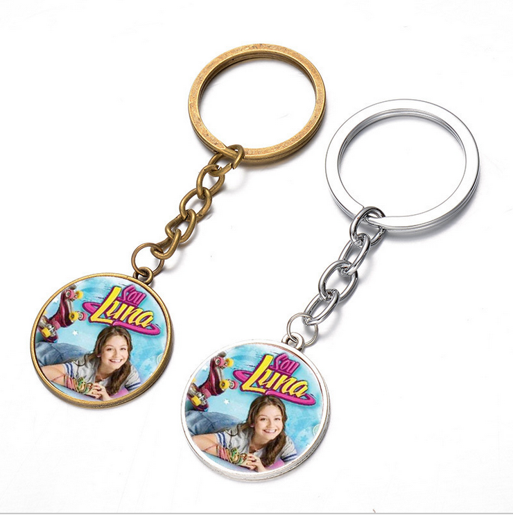 2017 Hot Sale Soy Luna Glass Pendant Keychain Soy Luna Vintage Silver/Bronze color chain Keychain Gift For Children