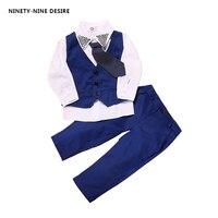 3pieces Set Autumn 2016 Children Leisure Clothing Sets Kids Baby Boy Suit Vest Gentleman Clothes For