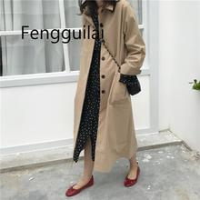 Women Autumn Long Sleeve Double Breasted Long Trench Coat Female Pocket Straight