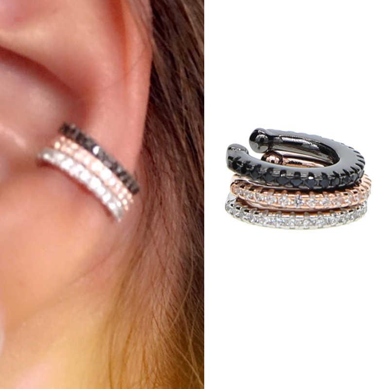 ใหม่ 3 สีผู้หญิงหูข้อมือ 100% เงิน 925 ที่ละเอียดอ่อนเล็กๆต่างหูผู้หญิงหู Cuff Micro Pave ต่างหู CZ