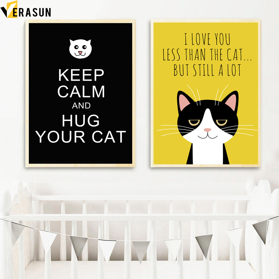 Hot Sale Black Cat I Love You Quote Posters And Prints Wall Art ...