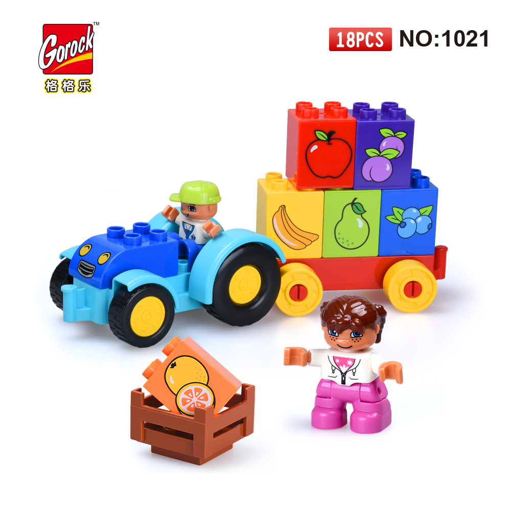 GOROCK 1021 Big Building Blocks Model Set 18Pcs children Educational Bricks Toys For Toy Gift For Baby Compatible With Duploe big bricks building blocks base plate 51 25 5cm 32 16 dots baseplate diy bricks toy compatible with major brand blocks