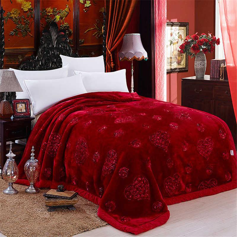 Свадебный подарок постельные принадлежности одеяло сплошной бобовый паста Цвет толстый мягкий теплый искусственный мех норка одеяло двойная кровать сильный Утешитель Одеяло