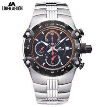 Liber Aedon Multfunction Silver Stainless Steel Men Watches Top Brand Luxury Quartz Waterproof Military Sport Mens Watch Clock