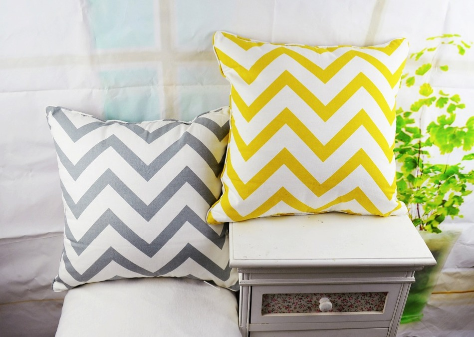 Promotion 18*18 Home Decorative Chevron Zig Zag Cotton Throw Cushion Cover Pillow Case for Sofa