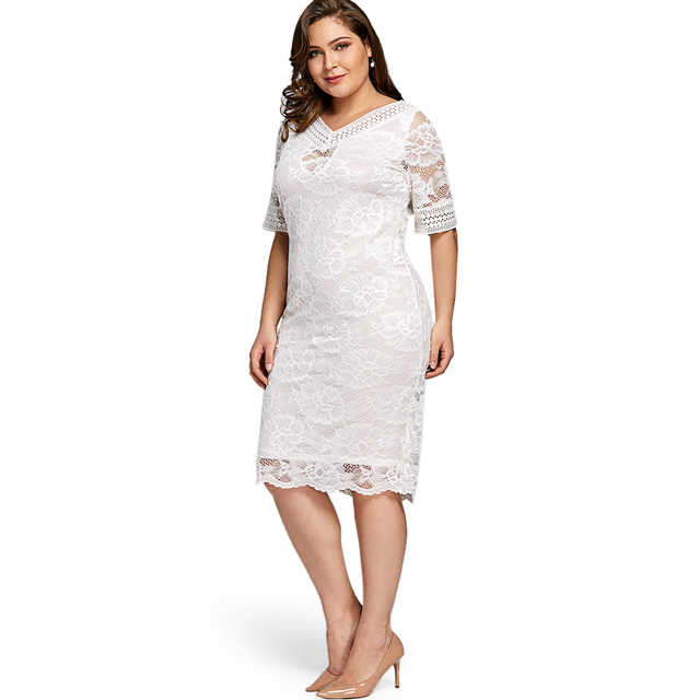 a767be30926e Women Summer Elegant Plus Size V Neck Half Sleeve Lace Bodycon Dress Casual  Party Midi Dress Fashion Big Size 5XL