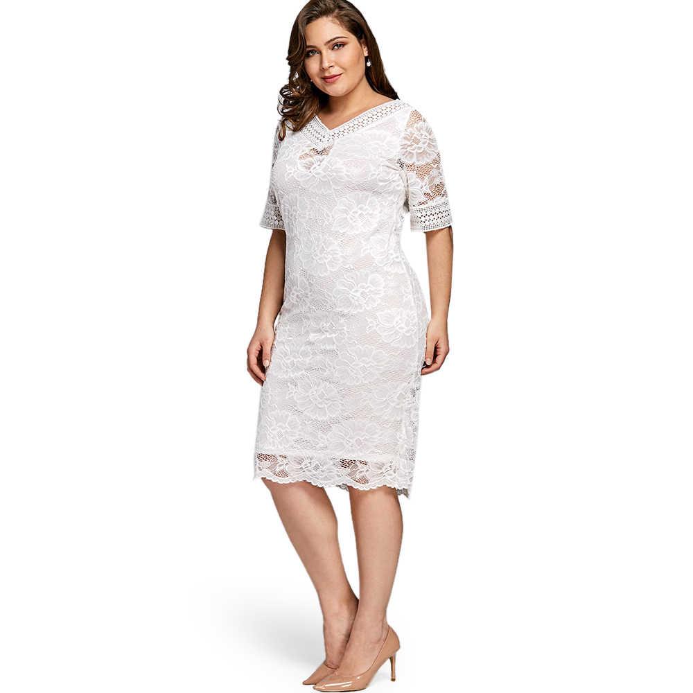 Wipalo kobiety lato elegancki Plus rozmiar V Neck pół rękawa koronkowa obcisła sukienka w stylu casual, imprezowa Midi sukienka 2018 moda duży rozmiar 5XL