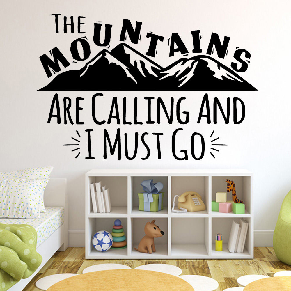 Diy Mountains Quote Vinyl Decals Wall Stickers Kids Room Nature Decor Waterproof Wallpaper