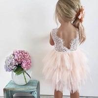 תחרה פרח המפלגה פנסי שמלות ילדה תינוק שמלת שמלת כלה ילד טקס יופי ילדה קטנה שמלת עוגת התחרה ללא משענת