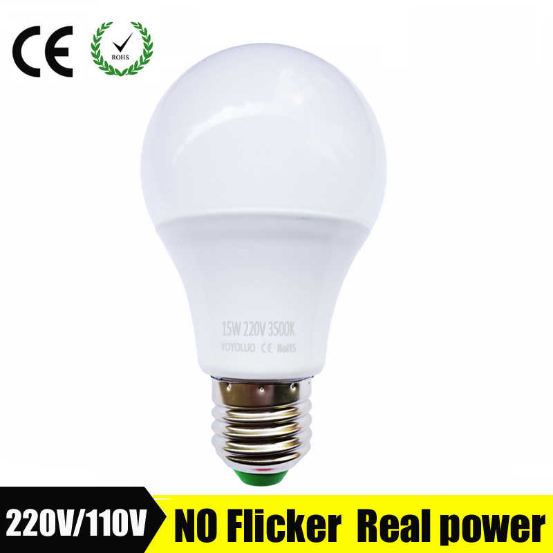 Светодиодный светильник E27 220 В светодиодный светильник SMD2835 светодиодный светильник B22 реальная мощность 3 Вт 5 Вт 7 Вт 9 Вт 12 Вт 15 Вт Холодный теплый белый светодиодный светильник Bombillas
