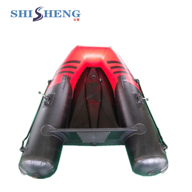 Petit bateau gonflable en caoutchouc rouge et noir CE pour la pêche - 4