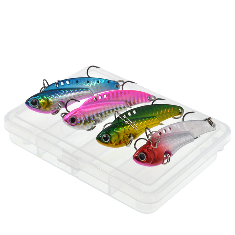 WLDSLURE  4Pcs/Box Metal Vib Lures Fishing VIB Lure 20g Sinking Artificial Vibrator Bass Bait for Ocean Rock fishing-in Fishing Lures from Sports & Entertainment