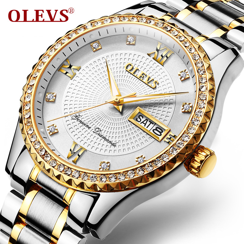 OLEVS Luxury Brand Men Watches Gold Stainless Steel Men's Quartz Clock Auto Date Male Sport Wrist watches Relogio Masculino 2018 tevise fashion auto date automatic self wind watches stainless steel luxury gold black watch men mechanical t629a with tool