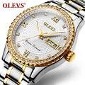 OLEVS Top marca de lujo hombres relojes Diamond Mens cuarzo reloj de oro de acero inoxidable Auto fecha relojes deportivos Relogio Masculino