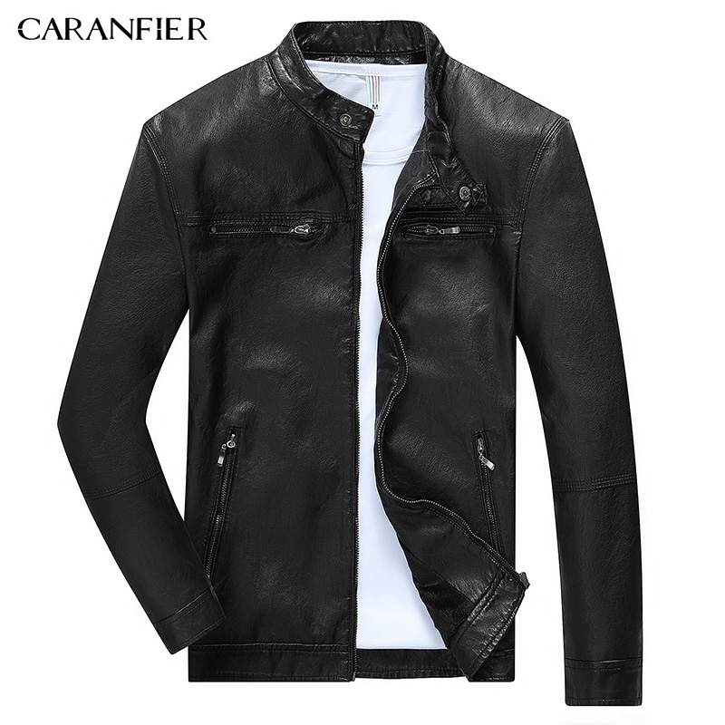 CARANFIER Men Warm Breathable Leather Jacket High Quality Windproof Soft Male Motorcycle Rider Businessmen Style M~3XL