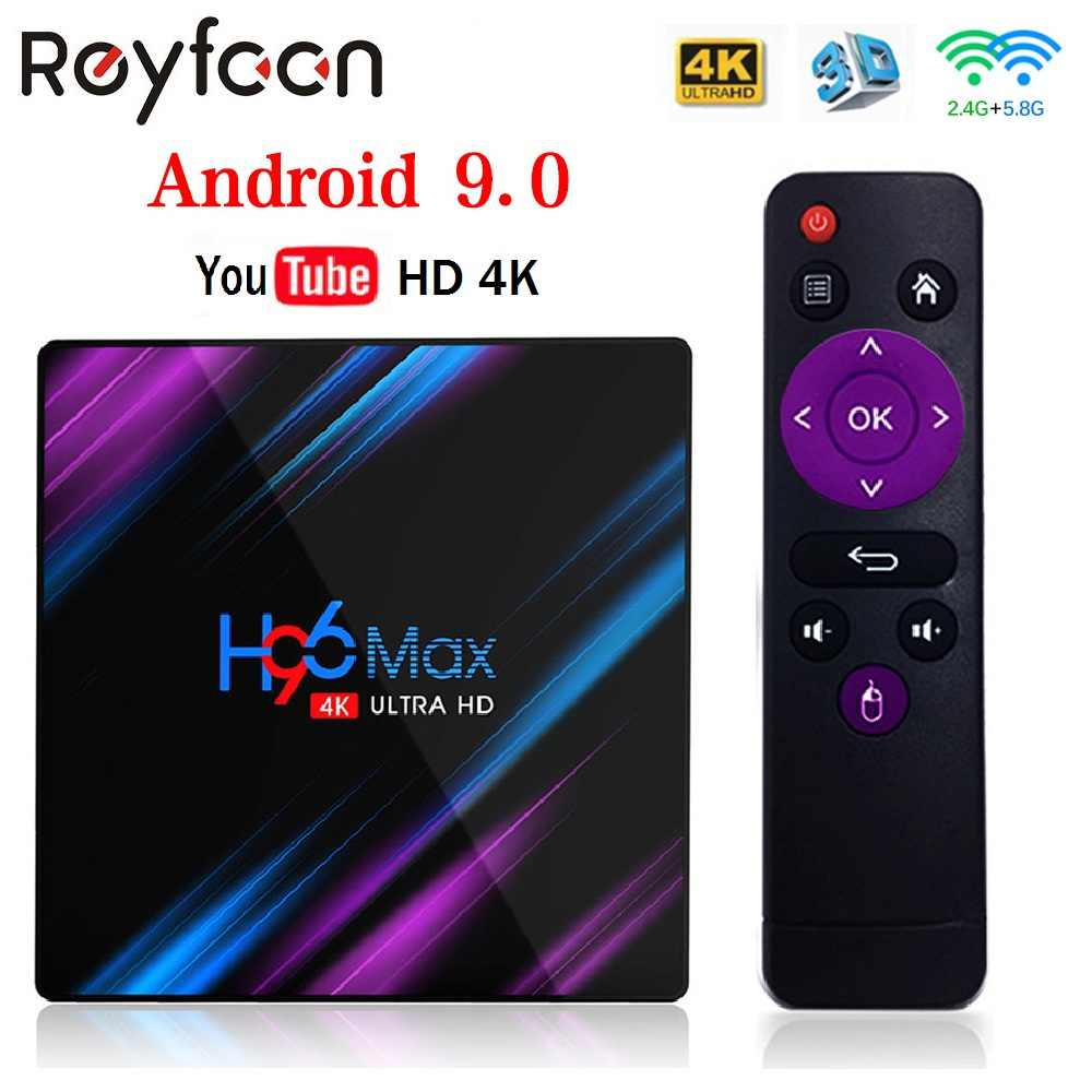 Smart TV Box Android 9.0 H96 Max RK3318 4GB 64GB USB3.0 1080P H.265 60fps Google Voice Asisten pemain YouTube 4K Smart TV Box