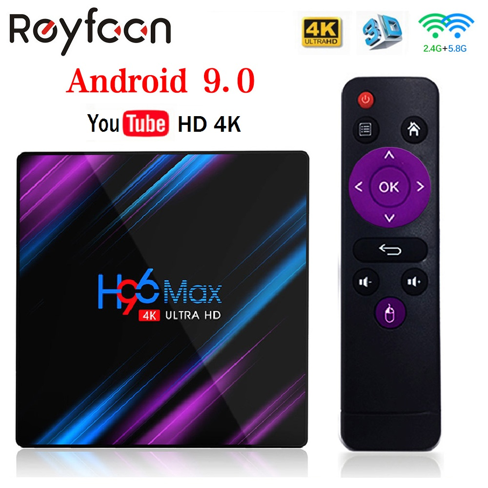 Smart TV Box Android 9.0 H96 Max RK3318 4GB 64GB USB3.0 1080P H.265 60fps Google Voice Assitant Player Youtube 4K Smart TV Box